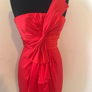 One shoulder BCBG red dress